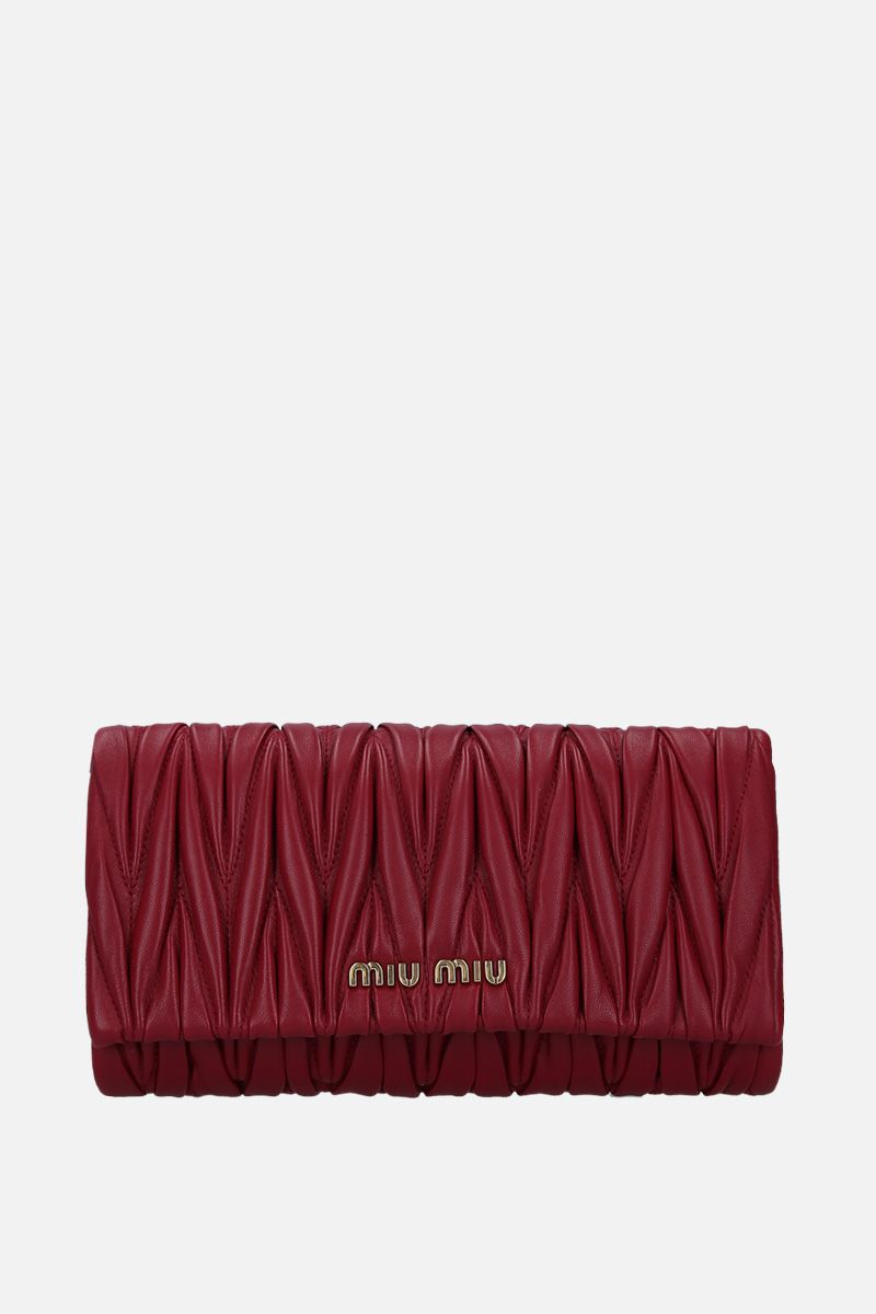 MIU MIU: mini crossbody bag in quilted nappa Color Red_1