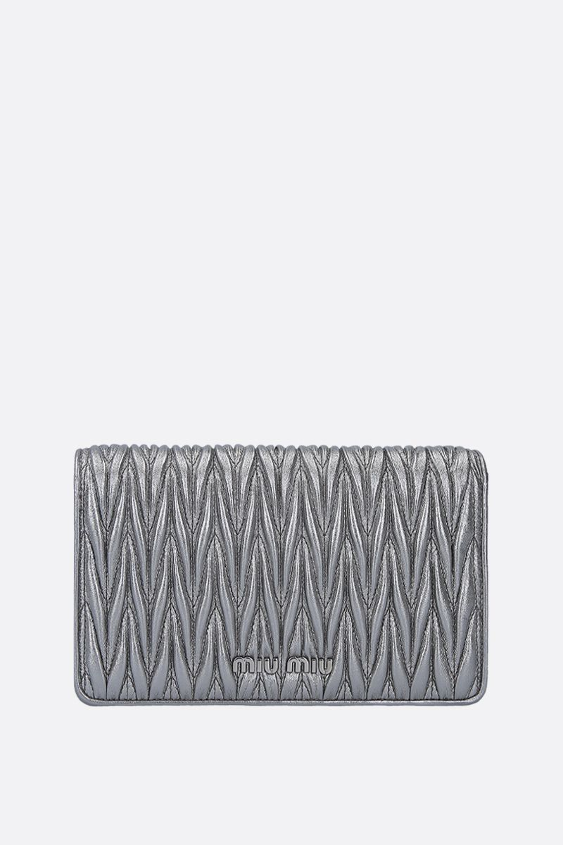 MIU MIU: Miu Dèlice chain bag in quilted nappa Color Grey_1