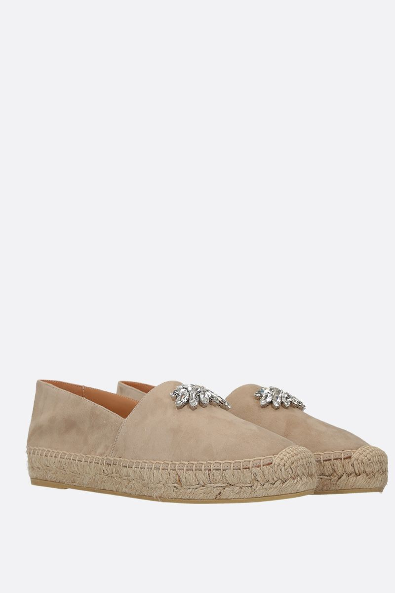 MIU MIU: crystal-embellished velvet suede espadrilles Color Neutral_2