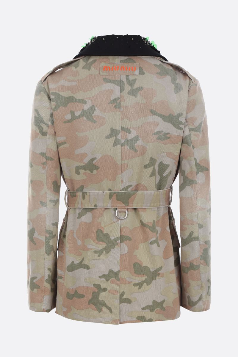 MIU MIU: camouflage print drill bush jacket Color Green_2