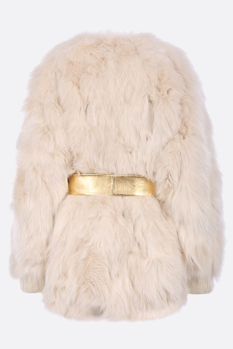 MIU MIU: fox fur jacket with jewe belt_2