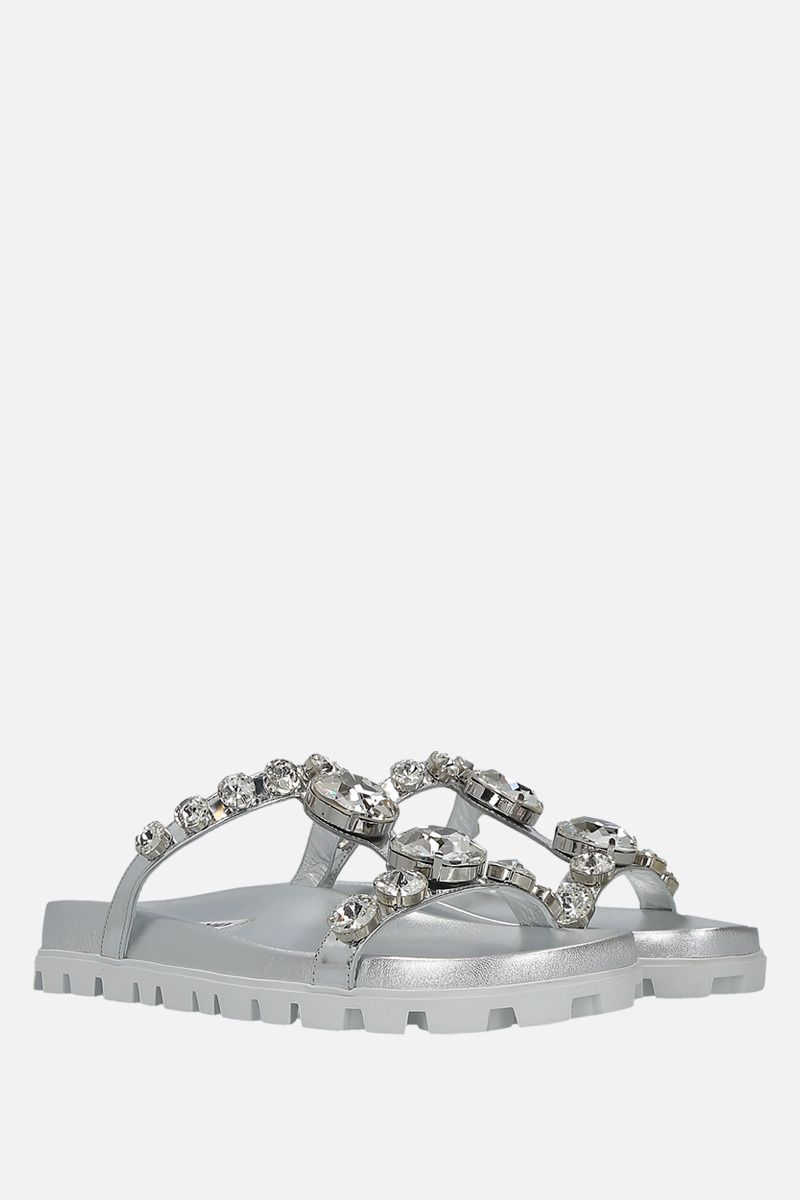 MIU MIU: crystal-embellished laminated leather sandals Color Silver_2