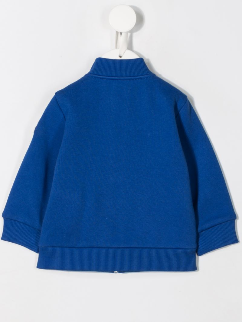 MONCLER KIDS: jersey full-zip sweatshirt with padded nylon insert Color Blue_2