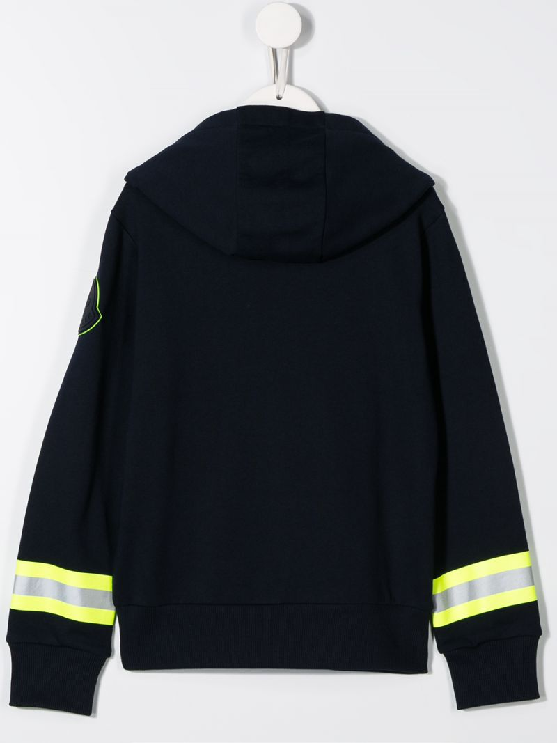 MONCLER KIDS: cotton hoodie with reflective details Color Black_2