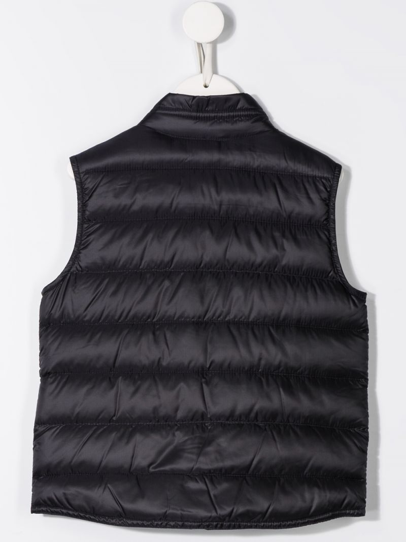 MONCLER KIDS: Gui sleeveless down jacket in nylon Color Blue_2
