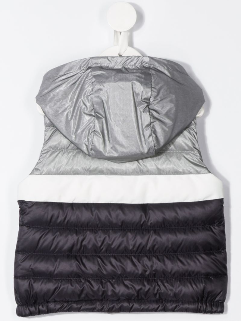 MONCLER KIDS: Cazaux nylon sleeveless down jacket Color Silver_2