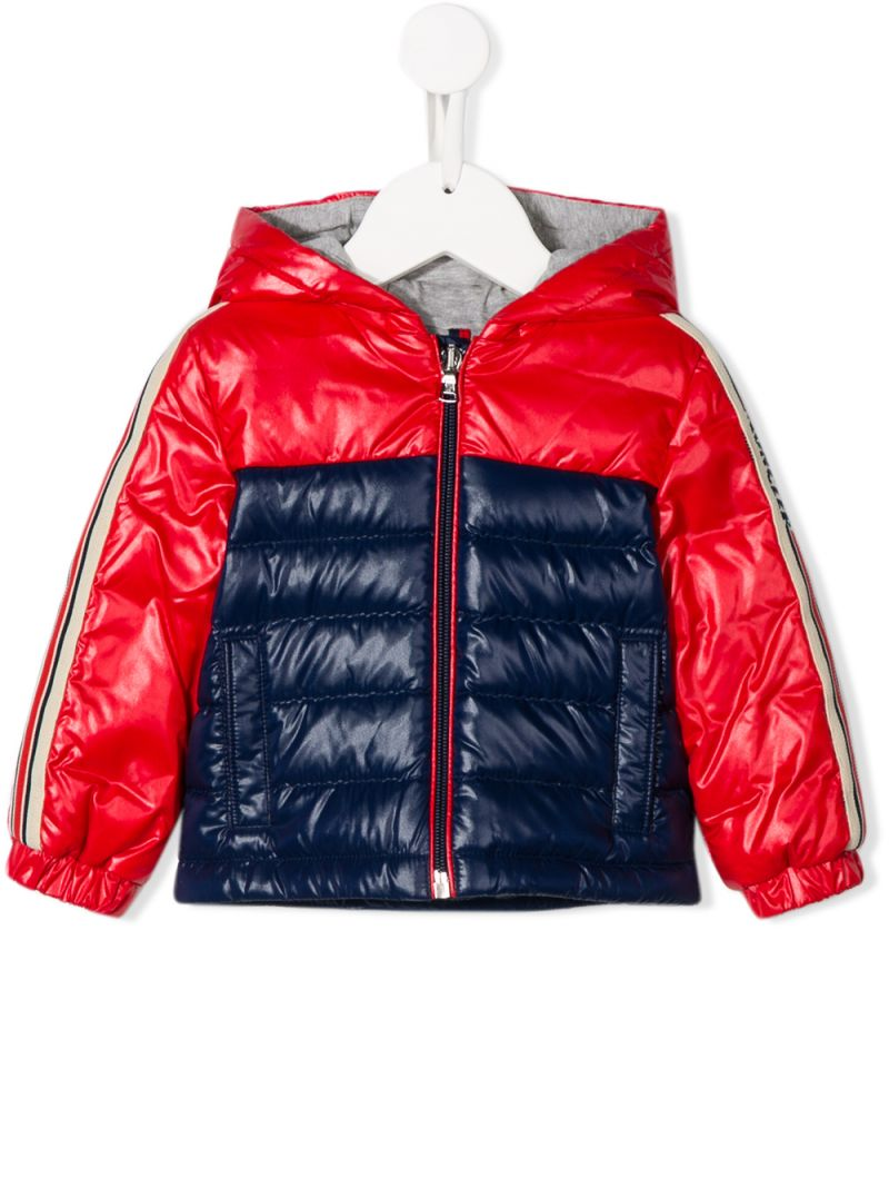 MONCLER KIDS: Jonc down jacket in colour-block nylon Color Blue_1