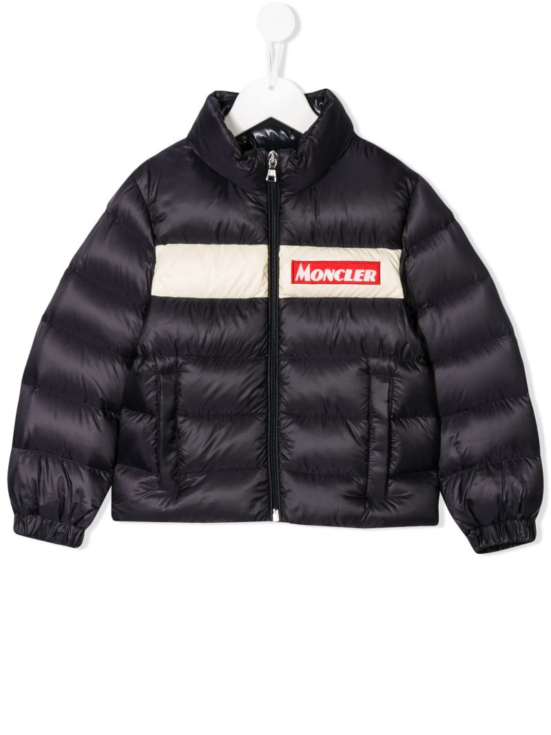 MONCLER KIDS: Servieres nylon down jacket Color Blue_1