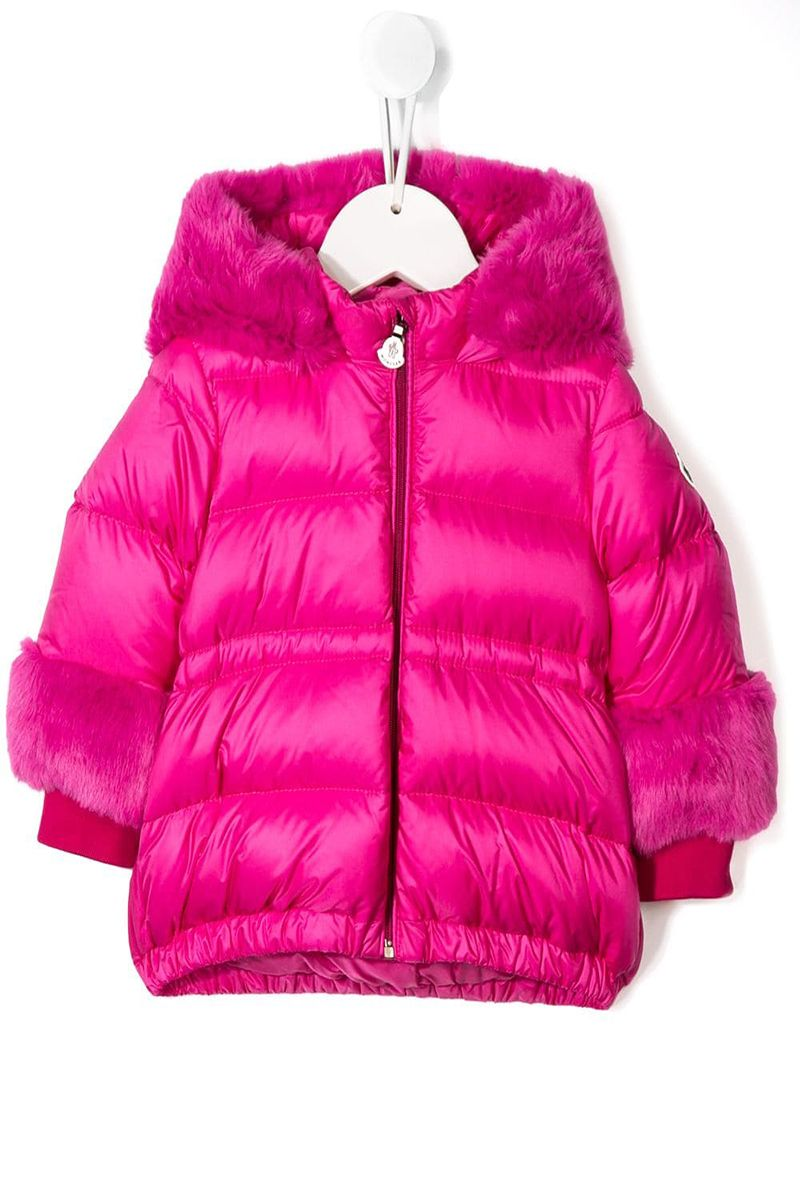 MONCLER KIDS: Atlantique nylon down jacket with faux fur inserts Color Pink_1