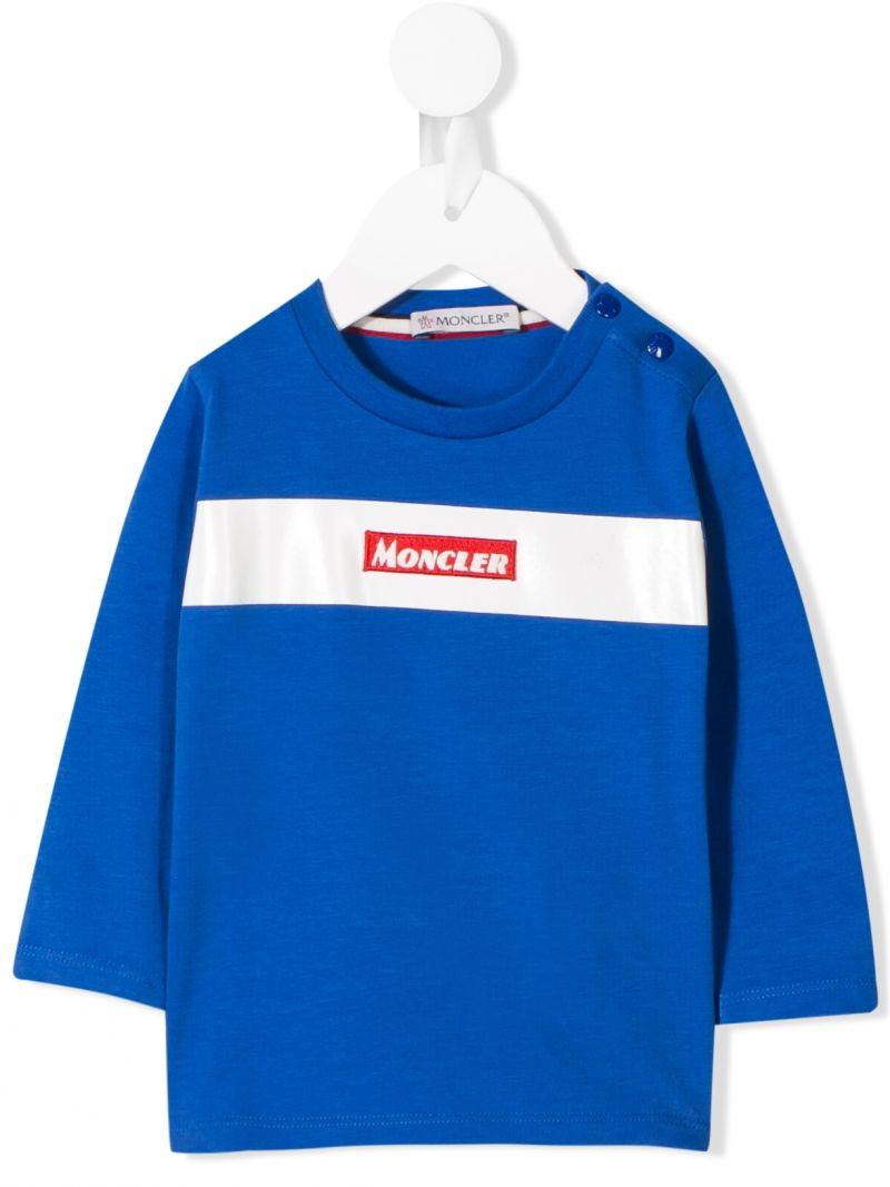 MONCLER KIDS: logo embroidery jersey long-sleeved t-shirt Color Blue_1