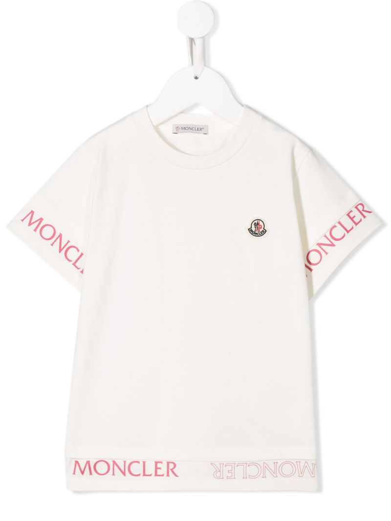 MONCLER KIDS: logo print jersey t-shirt Color White_1