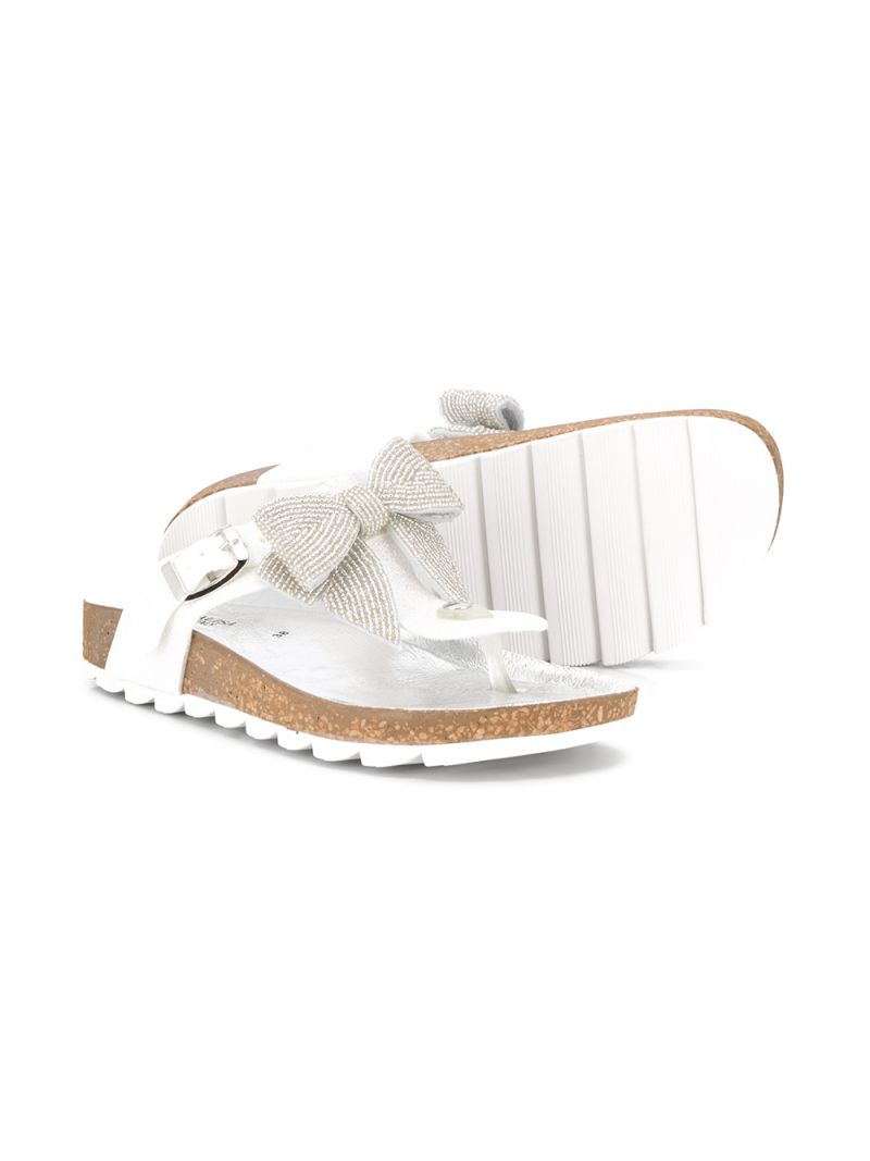 MONNALISA: bow-detailed PVC thong sandals Color White_2
