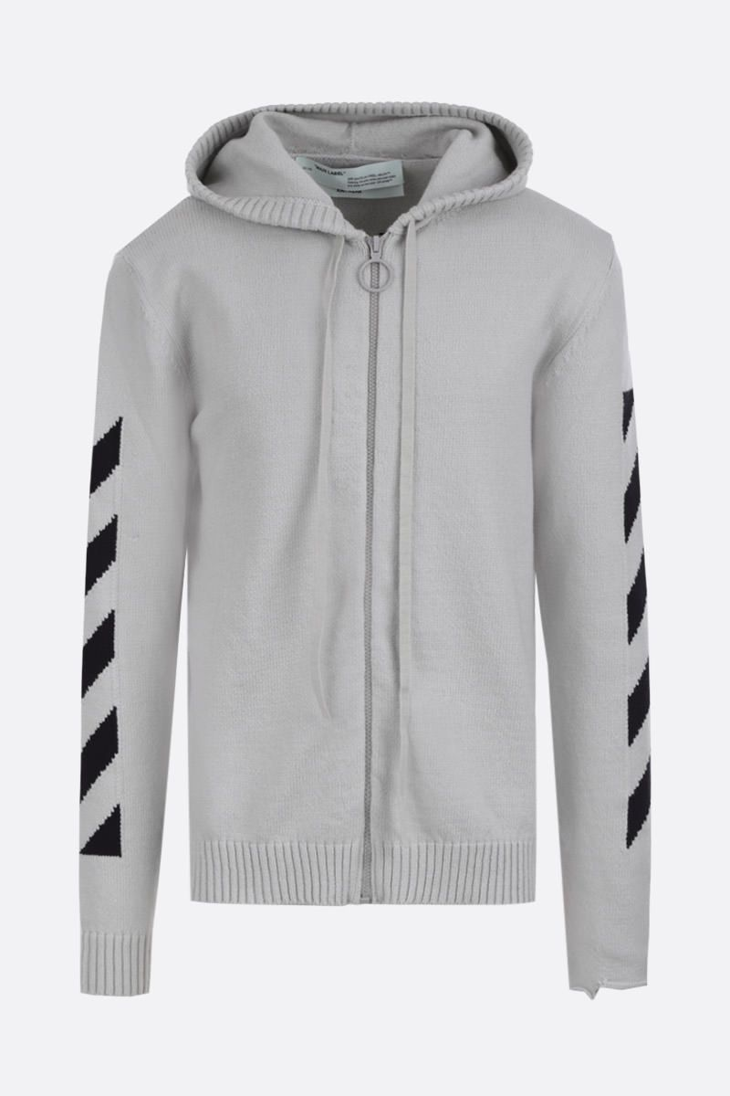 OFF WHITE: Diag Off zip pullover in cotton blend Color Grey_1