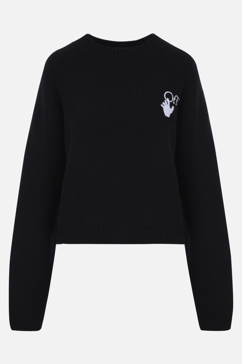 OFF WHITE: New Logos cotton blend pullover Color Black_1