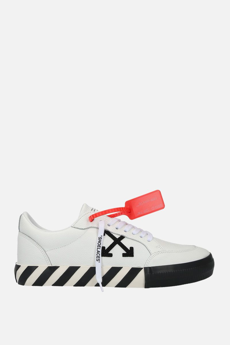 OFF WHITE: Low Vulcanized sneakers in grainy leather Color White_1