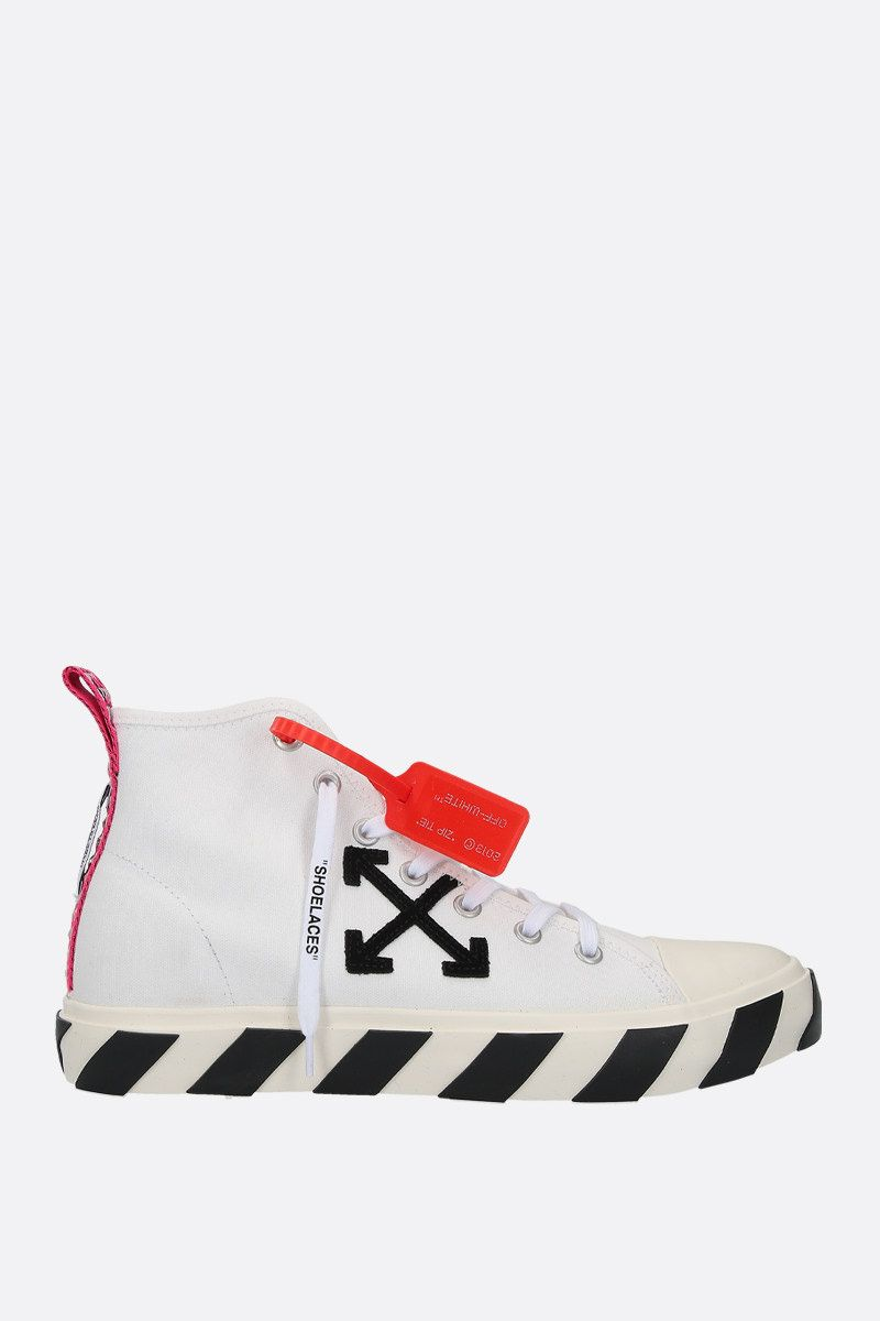 OFF WHITE: Arrow patch canvas mid-top sneakers Color White_1