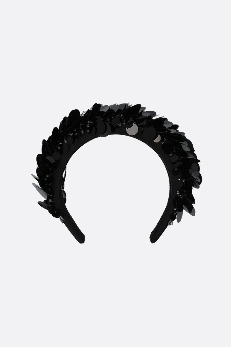 PRADA: sequin-embellished satin padded headband Color Black_2