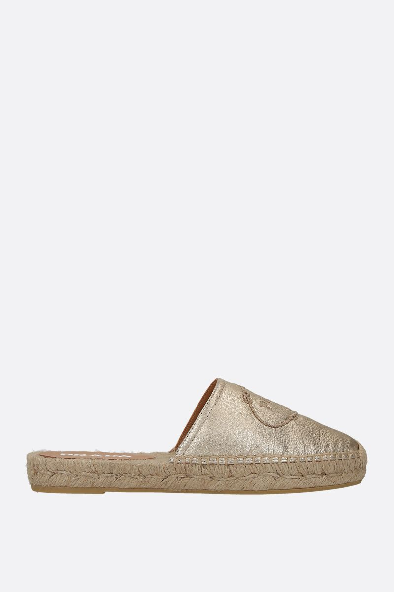PRADA: Madras leather slippers Color Grey_1