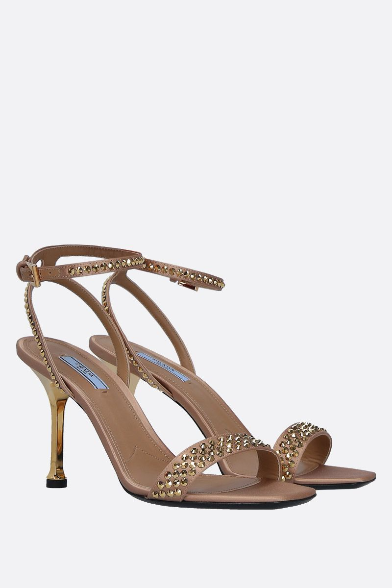 PRADA: crystal-embellished satin sandals Color Gold_3