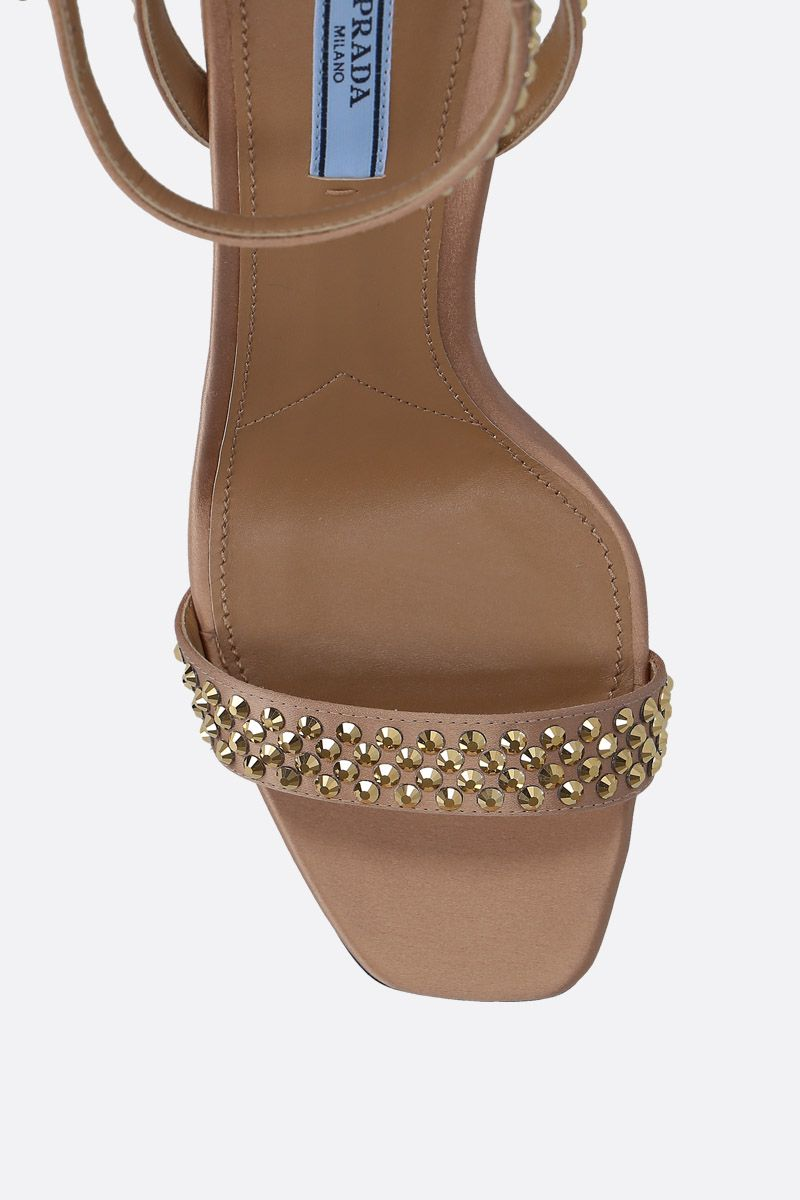 PRADA: crystal-embellished satin sandals Color Gold_5