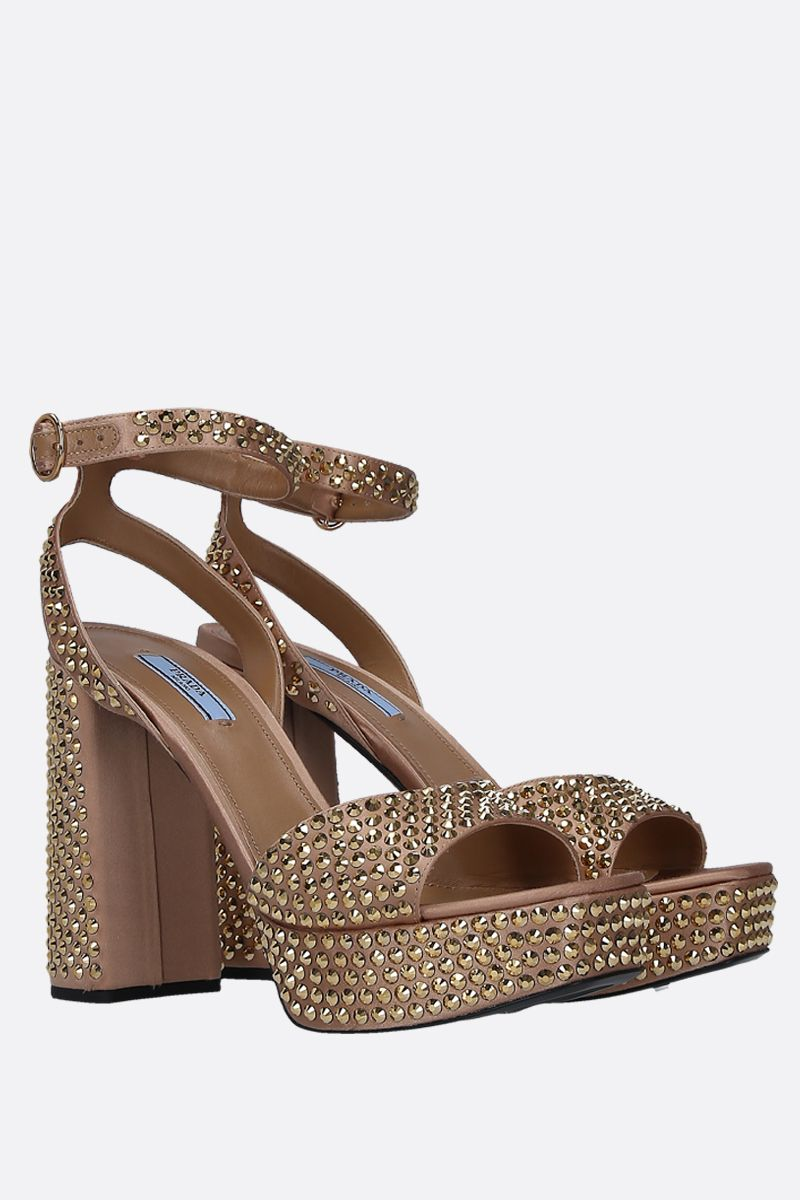 PRADA: crystal-embellished satin platform snadals Color Gold_3