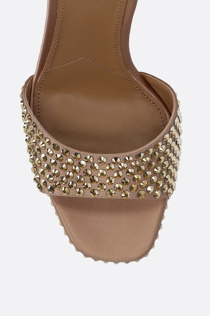 PRADA: crystal-embellished satin platform snadals Color Gold_5