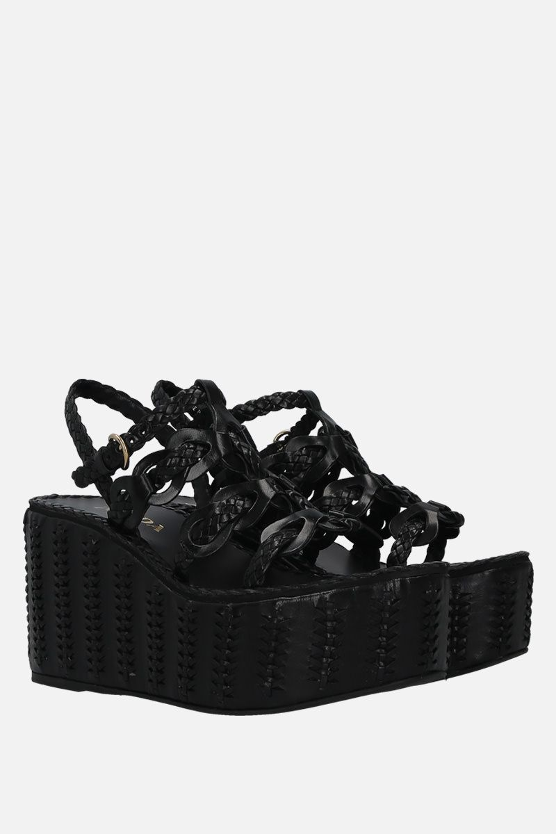 PRADA: woven leather wedge sandals Color Black_2