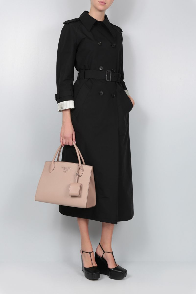 PRADA: technical cotton double-breasted trench coat Color Black_2