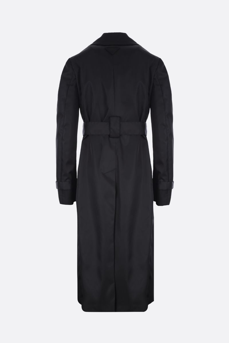 PRADA: nylon double-breasted trench coat Color Black_2