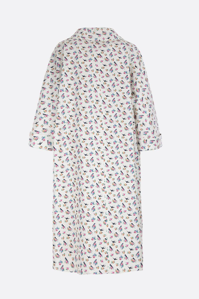 PRADA: Swallow printed faille oversized overcoat Color White_2