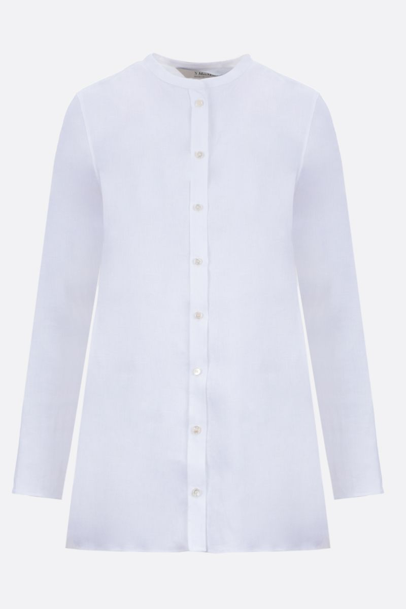 'S MAX MARA: Bird linen shirt Color White_1