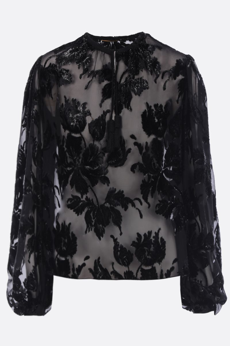 SAINT LAURENT: devorè velvet blouse with floral motif Color Black_1