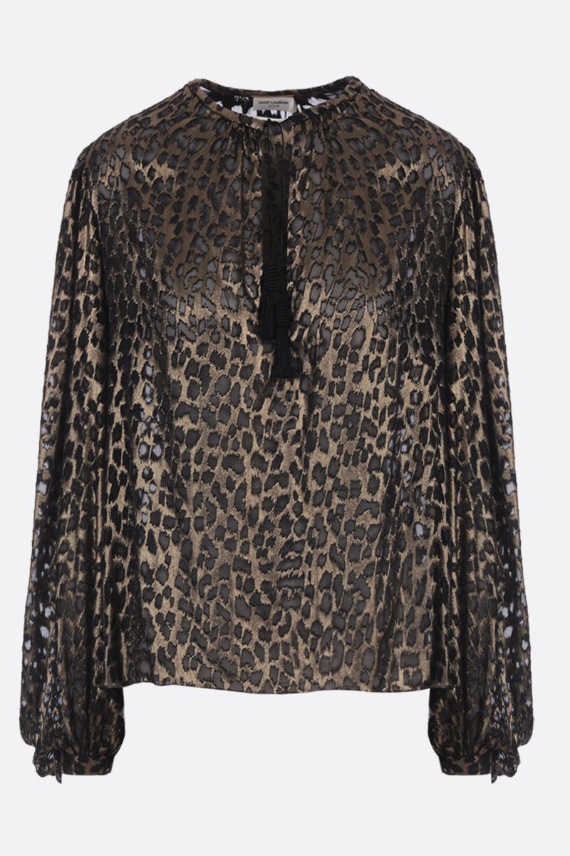 SAINT LAURENT: leopard motif devorè silk blend blouse Color Black_1