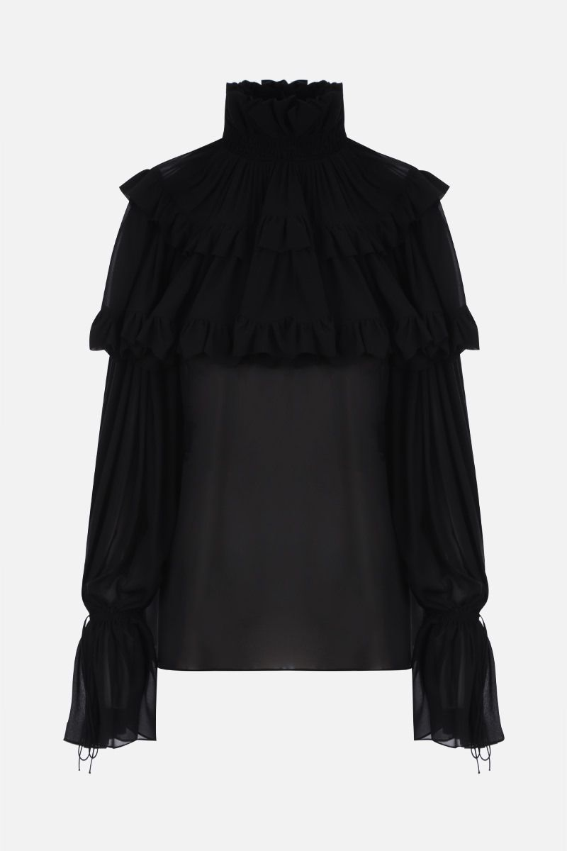 SAINT LAURENT: flounced cape-detailed georgette blouse Color Black_1