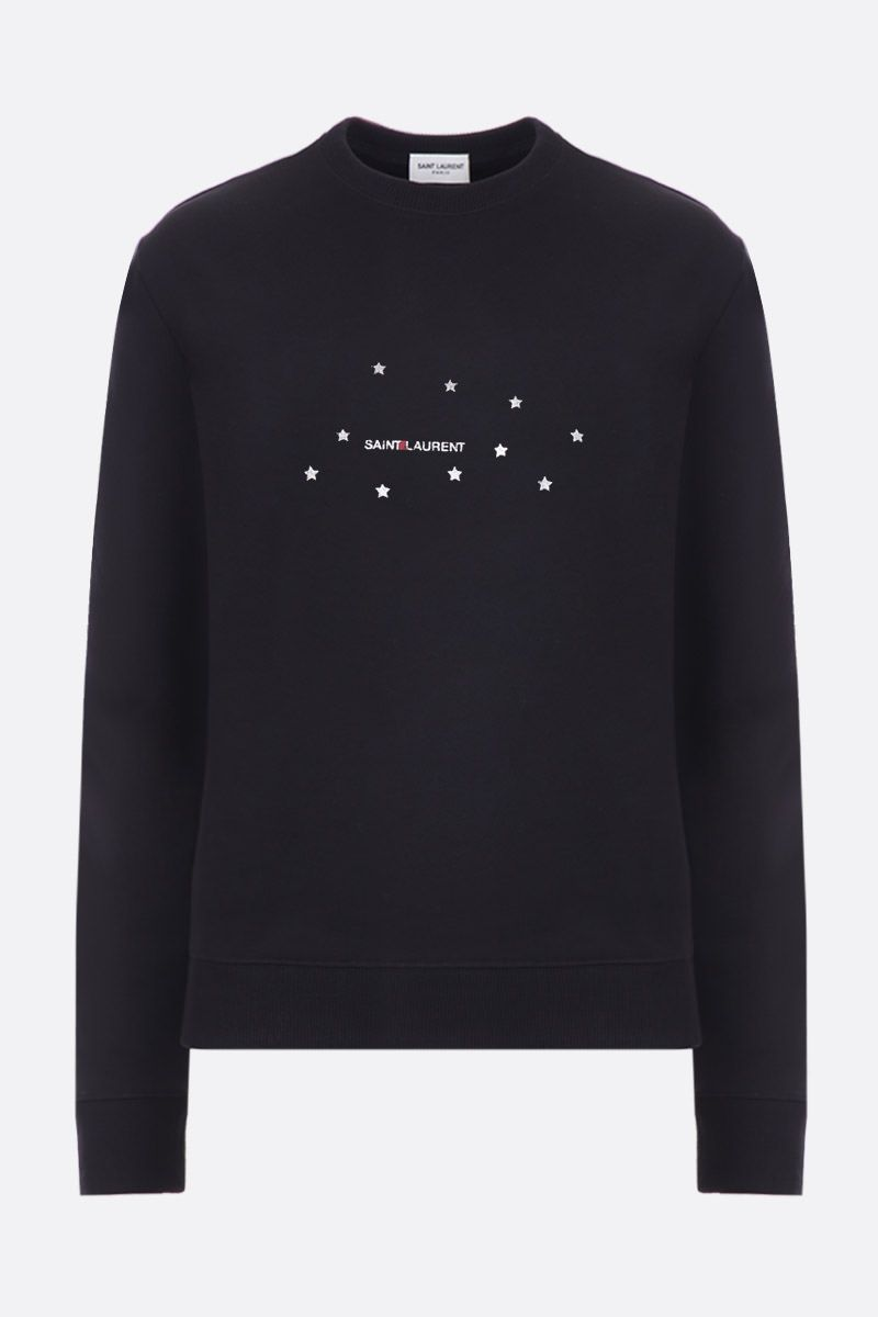 SAINT LAURENT: logo print jersey sweatshirt Color Black_1