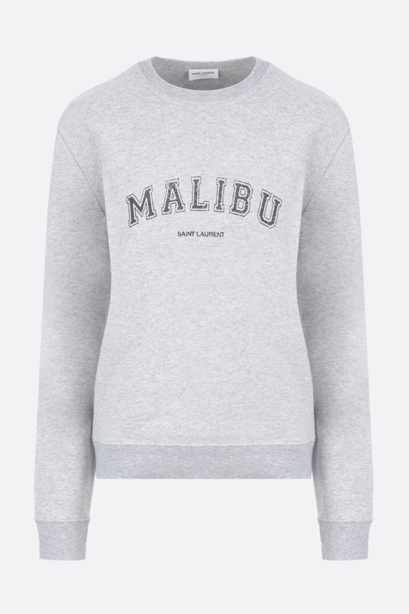 SAINT LAURENT: Malibu print cotton blend sweatshirt Color Grey_1