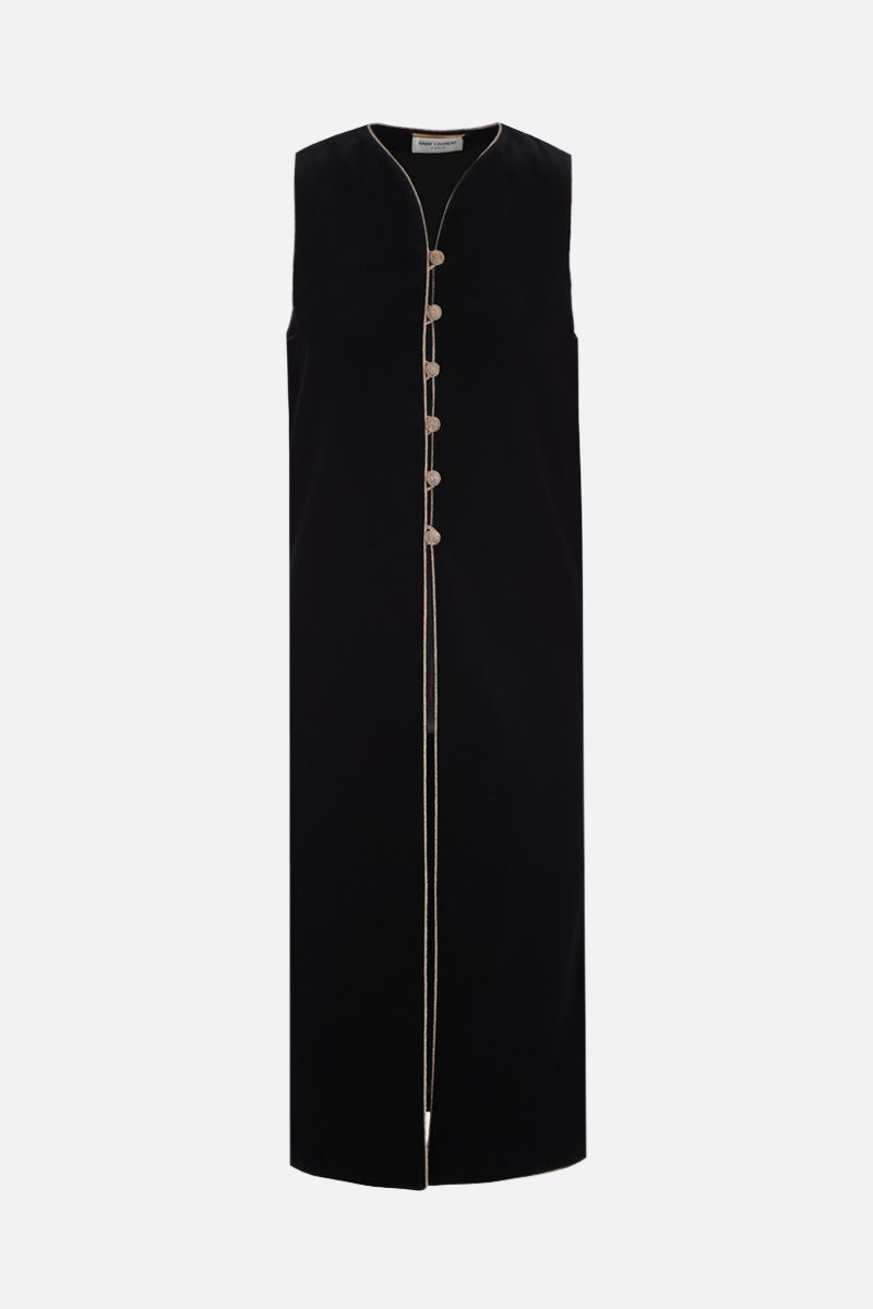 SAINT LAURENT: gilet lungo in velluto con piping in lurex Colore Nero_1