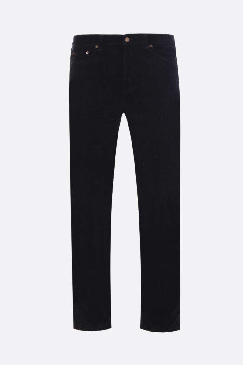 SAINT LAURENT: pantalone cropped in velluto a righe Colore Nero_1