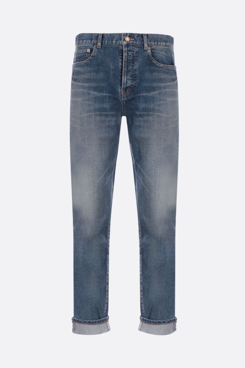 SAINT LAURENT: jeans crop a gamba dritta_1