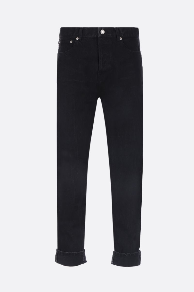 SAINT LAURENT: straight-leg cropped jeans Color Black_1