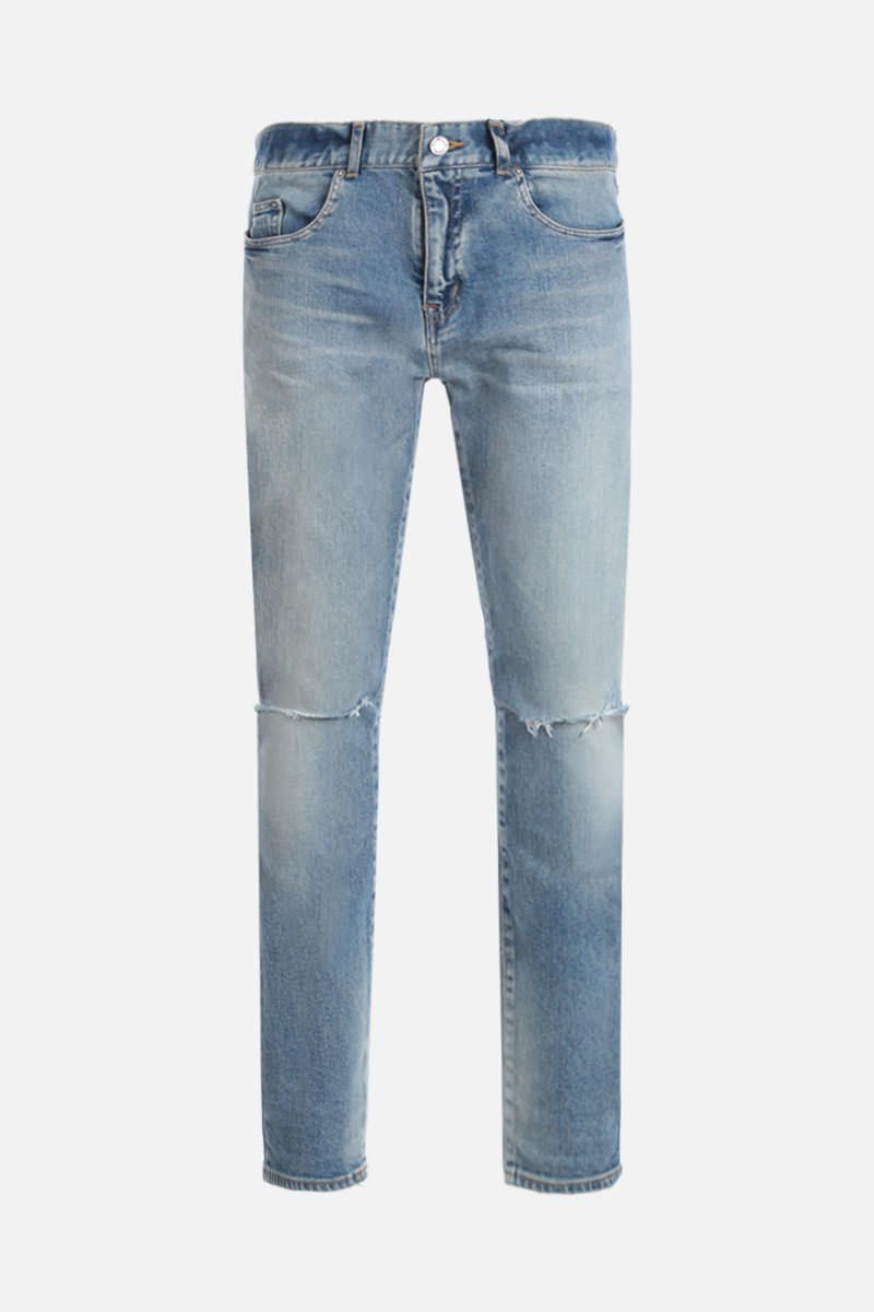 SAINT LAURENT: jeans skinny a vita media Colore Blu_1