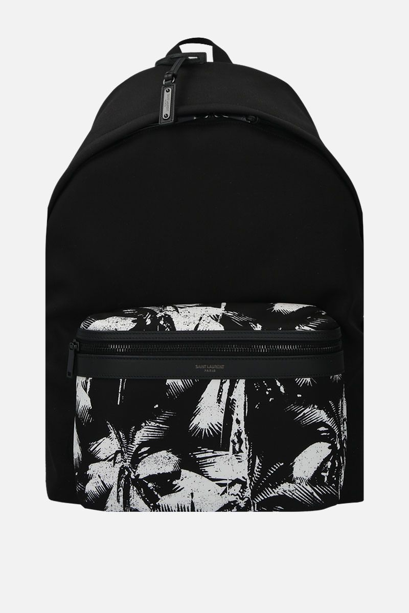 SAINT LAURENT: City backpack in printed canvas Color Black_1