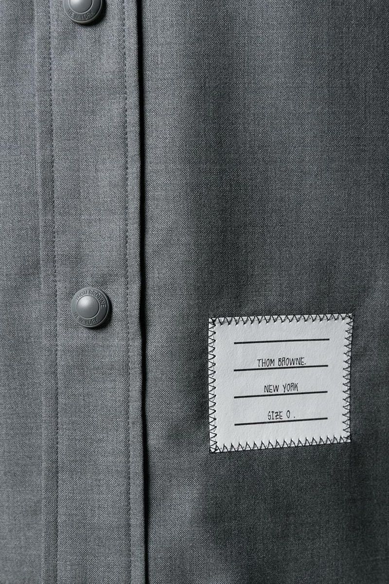 THOM BROWNE: 4-bar detailed wool overshirt Color Grey_2