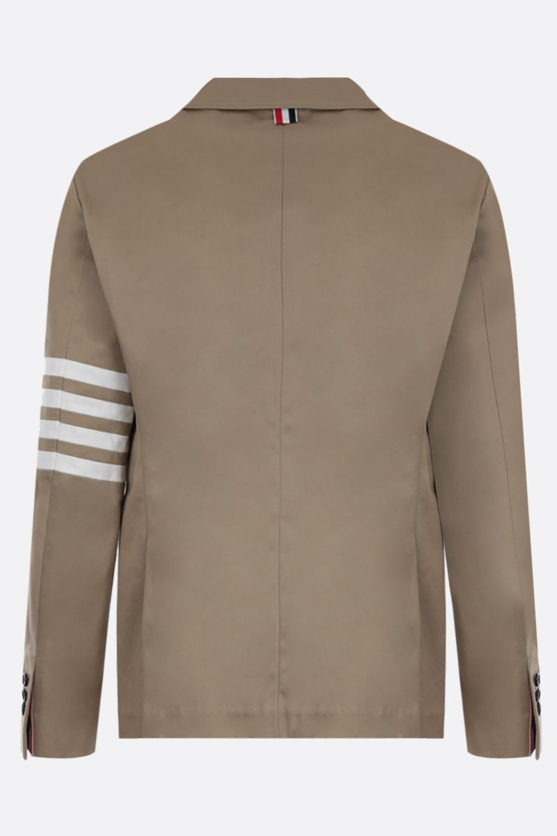 THOM BROWNE: 4-bar detailed cotton single-breasted jacket Color Neutral_2