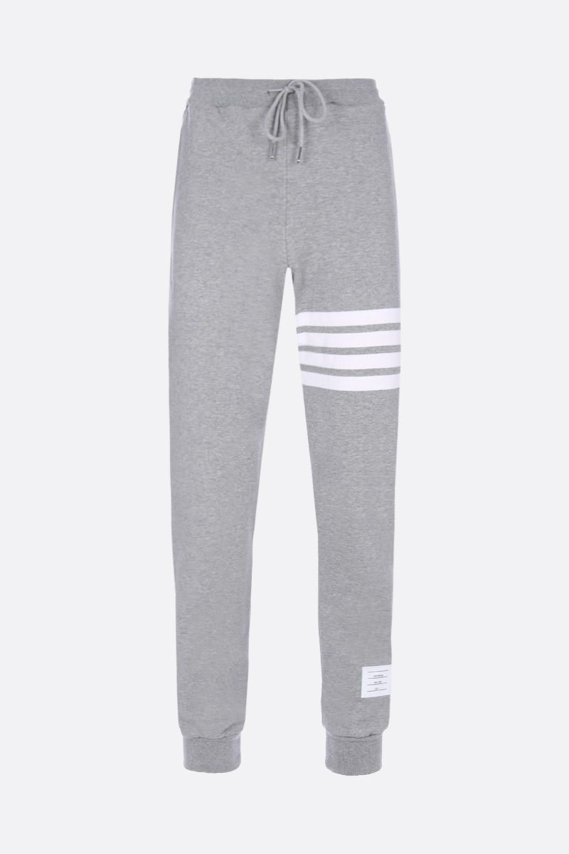 THOM BROWNE: 4-bar detailed cotton joggers Color Grey_1
