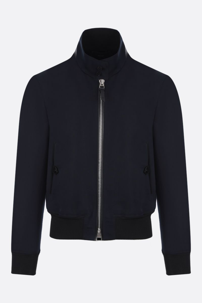 TOM FORD: cotton silk blend bomber jacket Color Blue_1