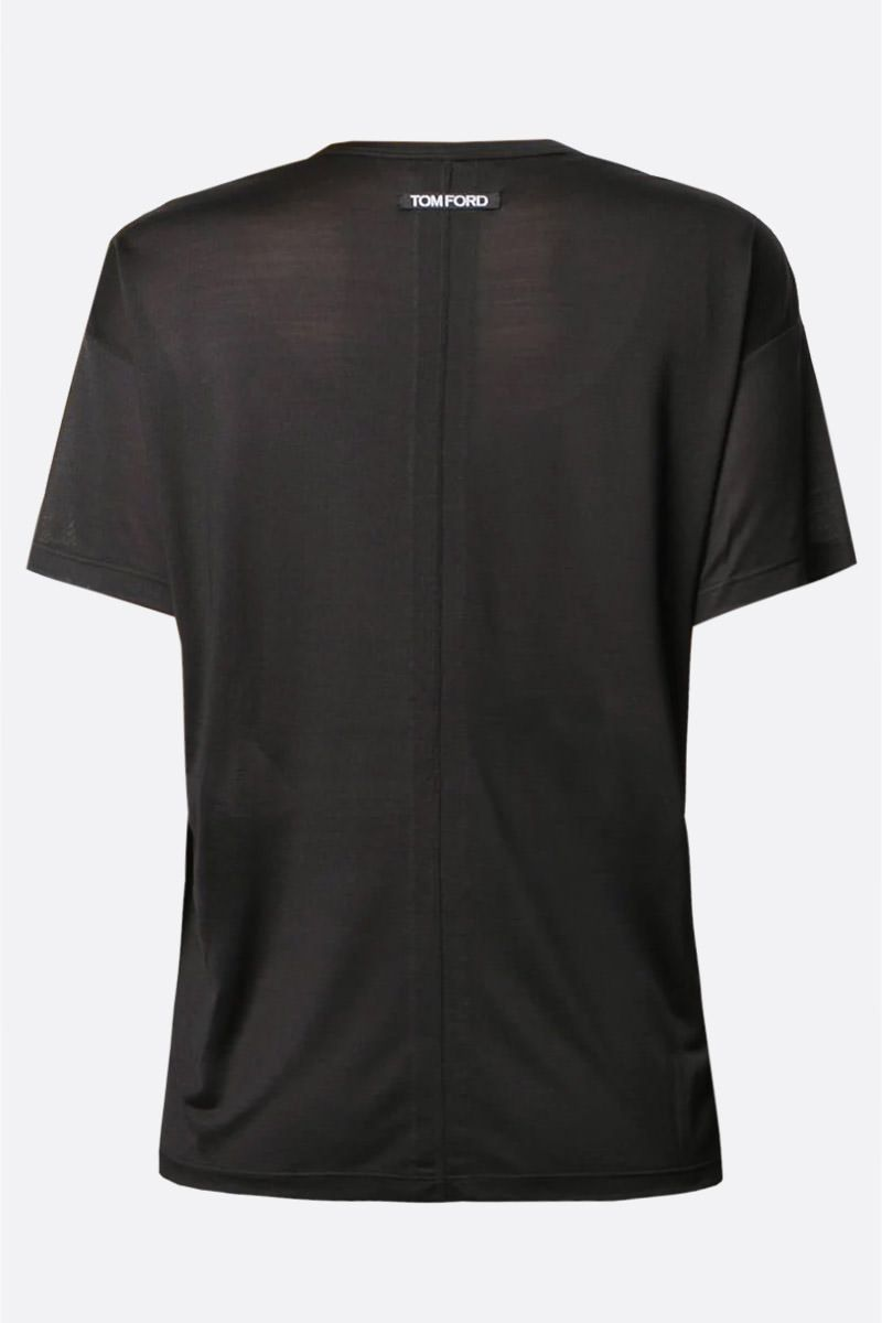 TOM FORD: logo label-detailed silk t-shirt Color Black_2