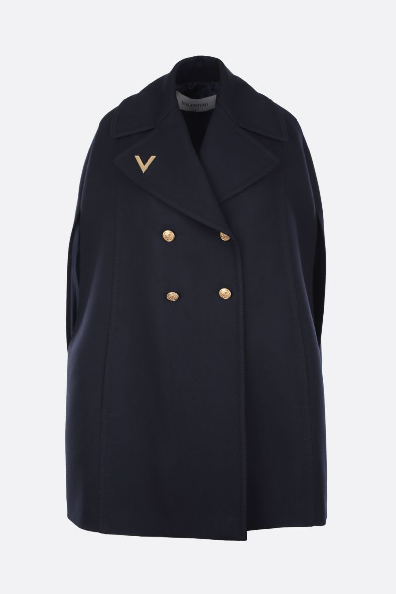 VALENTINO: Double Worsted wool cape Color Blue_1