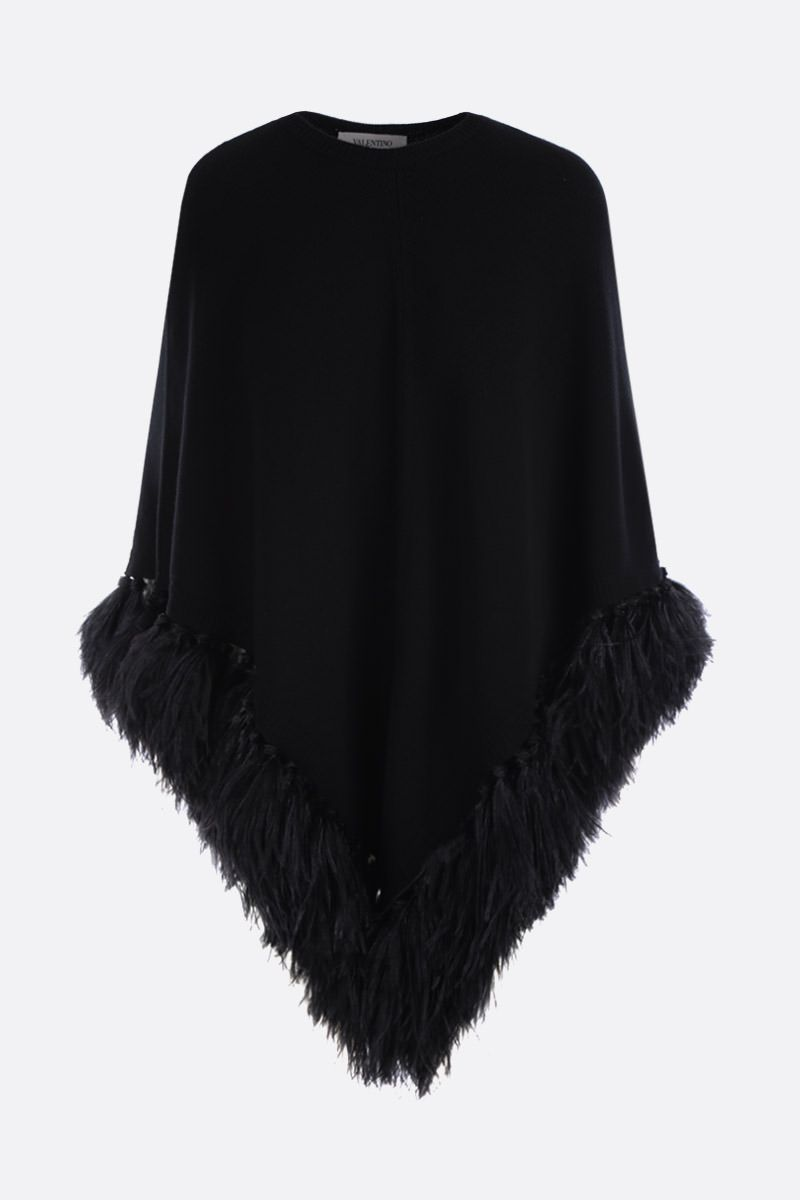 VALENTINO: feathers-embellished wool cashmere blend cape Color Black_1