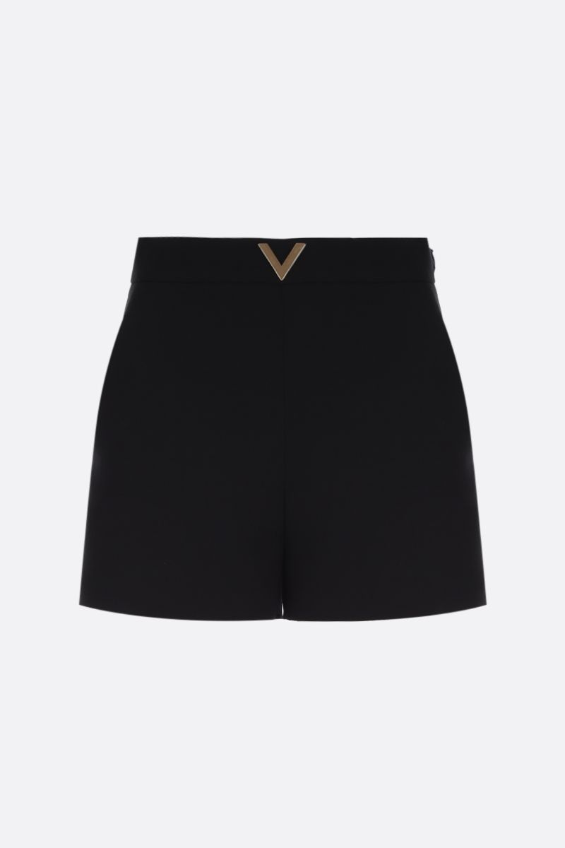 VALENTINO: V Gold-detailed Crepe Couture shorts Color Black_1
